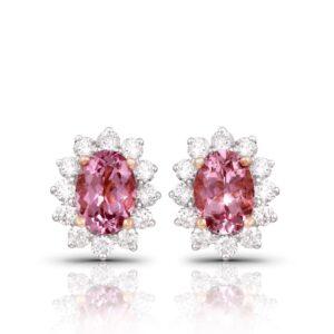 Pink Morganite Diamond Earrings