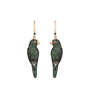 Emerald Parrot Earrings