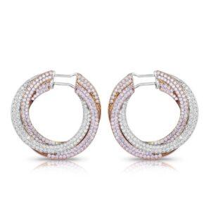 Tri colour diamond earrings