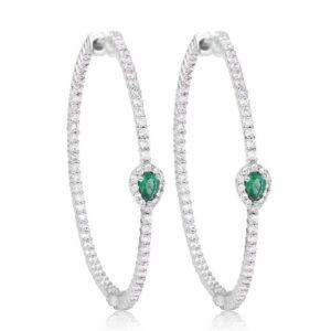 Emerald diamond Hoops