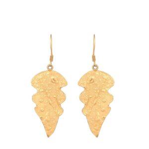 Yellow Gold Leaf Earrings