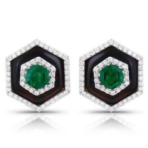 Emerald & Black Onyx Diamond Studs